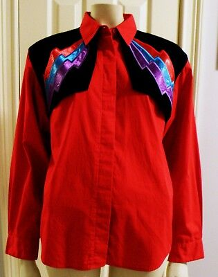 Vintage Wrangler Authentic Western Apparel Women Size M Rodeo Bright Red Shirt