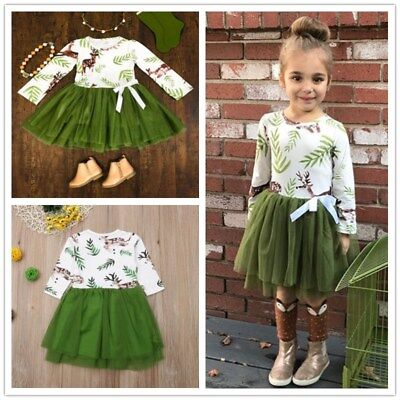 Toddler Baby Girls Kids Winter Princess Christmas Dress Party Dresses Outfits UK