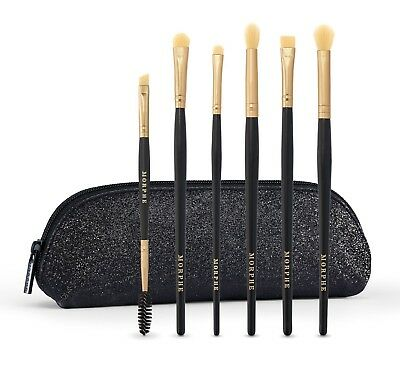 MORPHE ALL EYE WANT 6-Piece Brush Collection + BLACK GLITTER Case