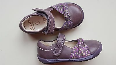 4b2f5a794 CLARKS baby girl SOFTLY NIA FST heather purple leather first shoes UK size  5 F