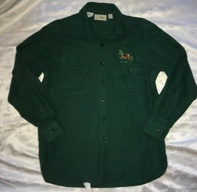 LL BEAN Chamois Cloth Shirt Embroidered Deer Green Teal Men's 16 Made in USA L
