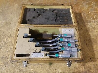 """MITUTOYOMICROMETER SET, 0""""-6"""", WOODEN CASE 103-907, Great Condition, Recent Cal"""