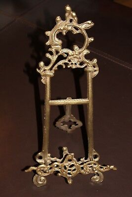 """21"""" Victorian Brass Table Top Picture Art Frame Holder Tripod Easel"""