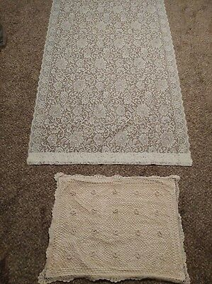 Vintage lace curtain panel, and vintage crochet full size pillow case