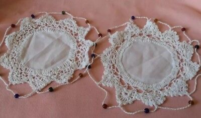 Vintage Pair of Handmade Antique White Crocheted Round Doilies w/ Beaded Edging