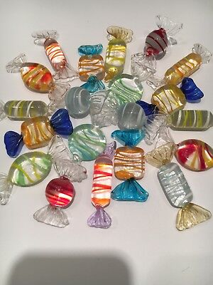 Vintage Murano Glass  20 Candy Pieces Hand Blown Wrapped Bon Bons Italian Venice