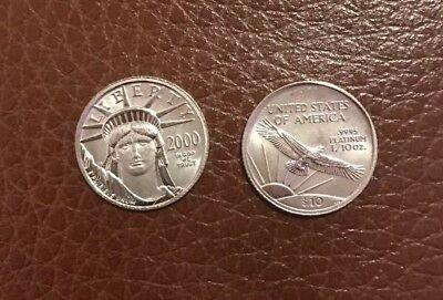 2000 American Platinum Eagle .9995 1/10 oz $10 BU Statue Of Liberty