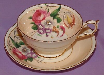 Elegant Paragon Fine Bone China Teacup & Saucer Duo ~ With Mixed Flowers