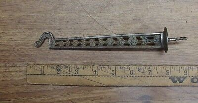 """Antique 7-3/8"""" Cast Iron Hook,With Floral & Leaf Design,Rusty,Crusty,& Cool!"""