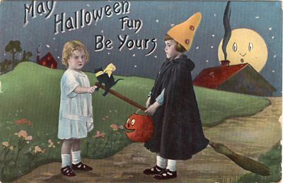 Halloween Postcard By Barton & Spooner Series 1312 Two Girls, Jol, Cat, 1914.