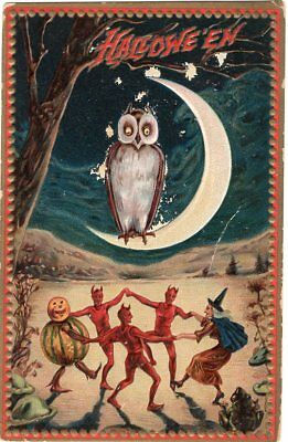 Halloween Postcard. Raphael Tuck & Sons, Series 160. Owl, Witches, Dancing.