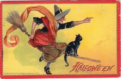 Halloween Postcard. Raphael Tuck & Sons, Series 174, Witch On Broom With Cat.
