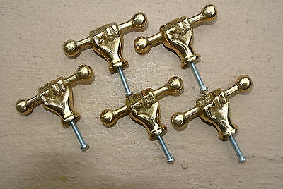 5 drawer pulls handles FIST POLISHED  brass old style HAND knobs heavy 66mm B