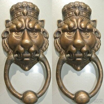 """2 small crown LION head heavy front Door Knocker SOLID BRASS old style 6.1/2""""B"""