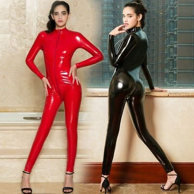 Damen Latex Wet Look Body Overall Catsuit schritt offen Playsuit Club Kostüme