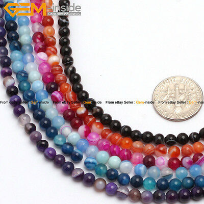 """4mm Round Seed Stone Tiny Small Gemstone Spacer Agate Beads Jewelry Making 15"""""""