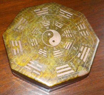 Chinese Antique 19th/20th Century Copper Ink Box/Stone, Bagua, 8 Trigrams