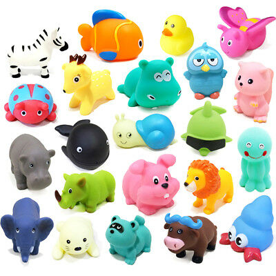 Cute Animal Baby Bath Toys Rubber Float Squeeze Sound Dabbling Toys Gifts