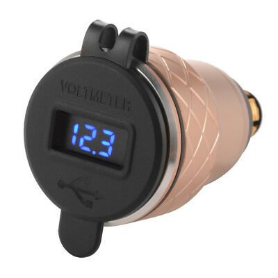 Motorbike QC3.0 4.2A Dual USB Charger Voltmeter for BMW Motorcycle Gold MA1764