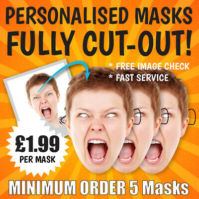 """fully Cut-Out"" Personalised Face Masks Hen Night Birthday Card Party Stag Do"
