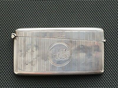 Antique 1906 Solid Silver Hallmarked Calling Card Case Striped Design 33g