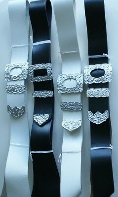 Highland Scottish Pipers Drummers Leather Cross Belt Black White Thistle Designs