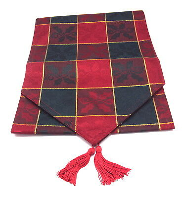 """Red/Green/Gold Check Christmas Table Runner 72"""" x 13""""  (183cms x 33cms)"""