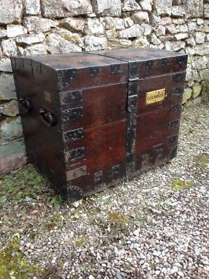 Victorian Wooden Antique Oak Silver Chest Storage Blanket Box Iron-Bound