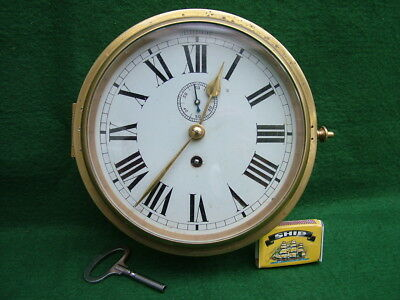 Antique/Vintage Heavy Quality Brass 6 Inch Dial 8 Day Ship's Bulkhead Clock Pwo