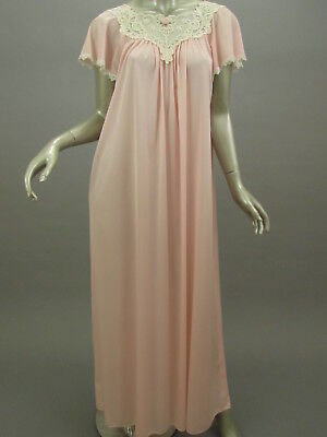 Vintage Shadowline Pink Nightgown Lace Trim Angelwing Sleeve Nylon USA Size L