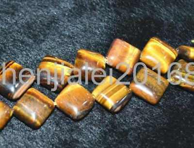 12x12 mm square piece Tiger Eye gemstone loose beads 15 ""