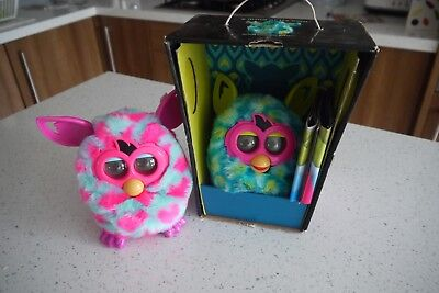 TWO Furby boom Peacock Green & Blue & Pink - Original Box - Very Good Condition