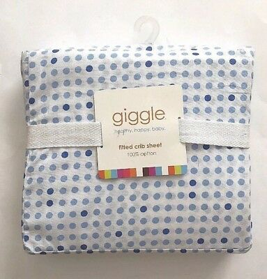 Giggle Nursery Neutral Toddler Mattress Fitted Blue Dots White Crib sheet
