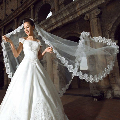216F Romantic Veils Lace Bride Wedding Bridal Bride Veil White Cathedral Church