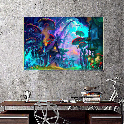 271A Psychedelic Mushroom Town Poster Mural Picture Silk Cloth Home Wall Decor A