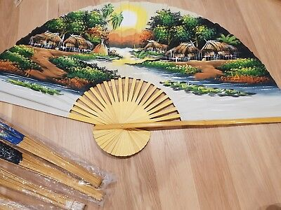 Wall hanging fans - hand painted - JOB LOT