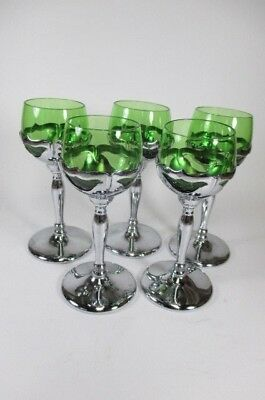Vintage Farber Bros.Cambridge Krome Kraft Green Glass Cordial Goblet Glasses 5