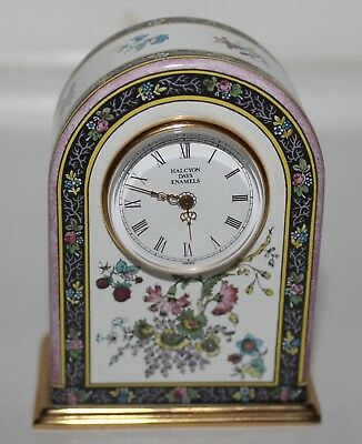 Halcyon Days Enamels Floral Arch Mini Desk Battery Operated Clock-Estate Pc Nr!