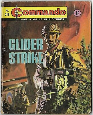 "Dated 1966. Vintage COMMANDO War Picture Comic # 218. ""Glider Strike"""