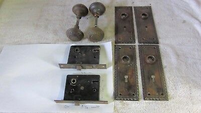 Antique Victorian 4  Door Knobs 4 Backplates 2 Locks  Egg Dart Pattern