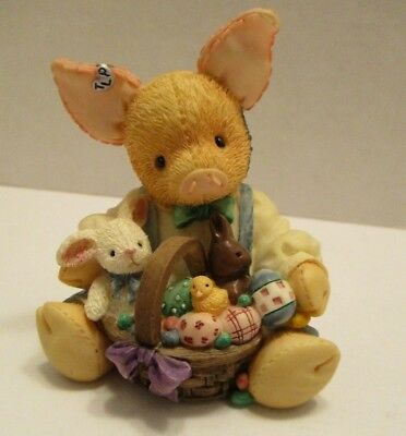 Vintage Enesco This Little Piggy Easter Sure is Sweet Figurine 1995 New 159581