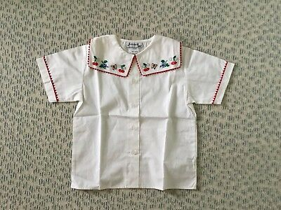 Vintage French Blouse JACADI,Paris Size:6 Girl White Cotton,Hand Embroidered,
