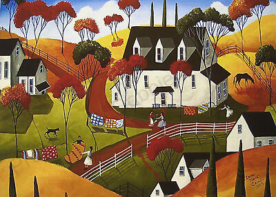 Country Quilts horse farm folk art signed Criswell giclee ACEO print of painting