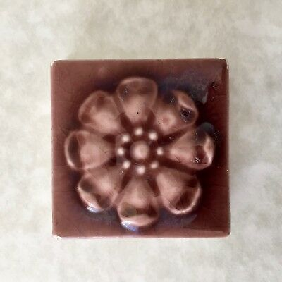 Miniature Trent Glazed Antique Stove Floral Art Tile Rare Size Ceramic