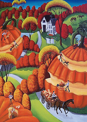 Pumpkin Harvest surreal Farm Christmas gift art Criswell ACEO print of painting