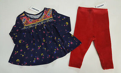 Old Navy  baby  girls 2Piece Cowl-Neck Top and Leggings Set Size 3-6-12-18-24 M