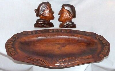 Vintage French Bread tray Carved in French 'Give Us Our Daily Bread' +2 carvings