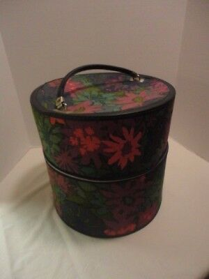 Vintage 1970's Travel Case Hat / Wig Case Floral Fabric Covered