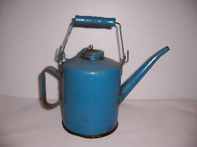Vintage Blue Metal 1/2 Gallon Gas Oil Kerosene Can With Wood Handle