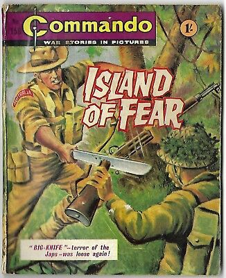 "Dated 1965. Vintage COMMANDO War Picture Comic # 158. ""Island of Fear"""